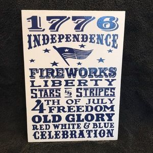 Other - Handmade by Me Wood Subway Sign 4th of July Blue